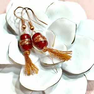 Handmade Red & Copper Glass Bead Tassel Earrings